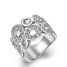 18K White Gold GP Austrian Crystal Wide Circles Finger Ring Size 6/7/8 +Gift Box