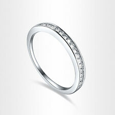 HOT!! 18K White Gold GP Clear AAA CZ Diamonique Finger Ring Size 6/7/8 +Gift Box