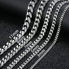 3/5/7/9/11mm MENS Boys Chain Stainless Steel Silver Curb Cuban Necklace 18-36''