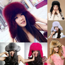 Nice Quality Winter Warm Women Russian Real Fox Fur Hat Cap Headwear Knit Bucket
