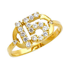 14K Gold Sweet Quinceanera 15 Anos Dainty Ring w/ 18 Clear Round Cubic Zirconia