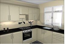 kitchen units, new, high gloss doors and appliances with sink & taps & handles