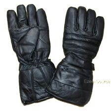 NEW REAL LEATHER WINTER DRIVING BIKING GLOVES GAUNLET CUFF w/ RAIN COVERS - K1F