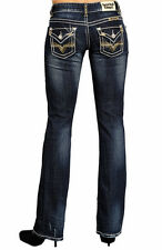 Rock & Roll Cowgirl Jr. Low Rise Bootcut Jeans-Dark Vintage Wash Style #W0-5526