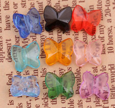 100pcs Mixed Color Clear Acrylic Butterfly Shaped Spacer Beads Charms 10x9mm