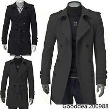 2014 New Stylish Men's Slim Fit Double Breasted Trench Coat Long Jacket Overcoat