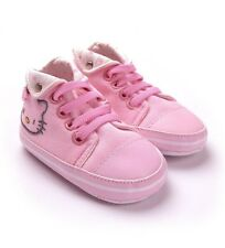 New HELLO KITTY Soft Sole Baby Girl Solid PINK Sneakers Crib Shoes. Age 0-18 Mth