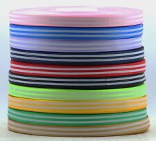 "3/8""(9 mm)printed White Straight lines Grosgrain ribbon 5/50 yards U pick"