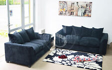 New Dylan Fabric Jumbo Cord Black Sofa in Corners and 3+2+1 Seaters