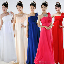 One Shoulder Long Evening Dress Formal Party Prom Bridal Gown Bridesmaid Dresses