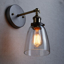 Vintage Industrial Retro Bell Glass Wall Lamp Cafe Pub Bar Light Kitchen Gray