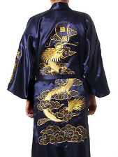 Chinese style mens silk bathrobe robe/gown size M L XL XXL