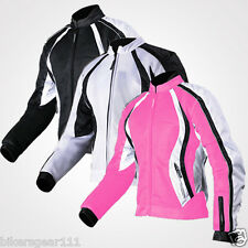 Ladies Motorcycle Mesh Air Vented Waterproof 600 D Textile Cordura Armour Jacket