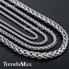 """18""""~36"""" 3/4/5/6/8 mm Wheat Braided Silver STAINLESS STEEL Necklace Men's Chain"""
