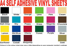 A4 Matt Vinyl Sheets in 22 Colours - Self-Adhesive Sticky Back Plastic