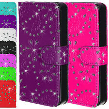 Cuero Sparkle Bling diamante Cartera Flip Magnético Funda Apple Iphone 4 4s