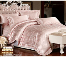 European Soft Light Pink Jacquard Satin Drill Quilt Cover Set Home Bedding &$