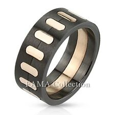 FAMA Stainless Steel Black Brush Finished with Rose Gold IP Band Ring Size 9-13