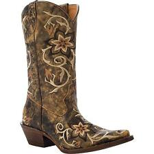 RICKY Women HandHewn Snip Toe Western Brown Floral Leather Cowgirl Boot 5233 NIB