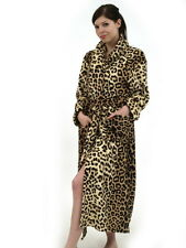 Womens Ladies Warm Fleece Leopard Robe Dressing Gown Super Soft * BRAND NEW *