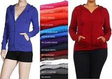 NEW WOMEN'S LIGHT WEIGHT KNIT TEE HOODIE ZIP-UP LONG SLEEVE STYLISH COMFORTABLE