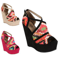 10R WOMENS FAUX SUEDE PRINTED PATTERNED PLATFORM WEDGE HIGH HEELS SHOES SIZE 3-8