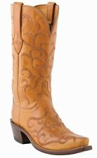 Lucchese M5036 Womens Honey Tan Leather Embroidered Stitch Western Cowboy Boots
