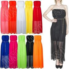 New Womens Ladies Boobtube Bandeau Plain Chiffon Summer Maxi Dress Size S M L XL