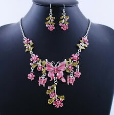 6Color Flowers Butterfly Acrylic Crystal Necklace Earrings Set Wedding Jewelry