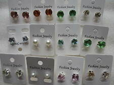 Wholesale & Job Lots 12 - 24 Pairs Crystal Earring Studs 10mm 8mm in 6 Colours