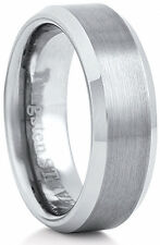 Men's 7mm Wide Tungsten Carbide Band Comfort Fit Ring Flat Brush Center - TCR044