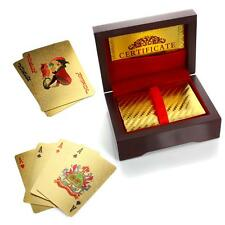 24K Gold Plated Playing Cards / Poker Deck w Wooden Gift Box & 99.9% Certificate