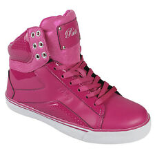 Womens pink ladies girls pastry pop tart sweet crime hi top trainers brand new