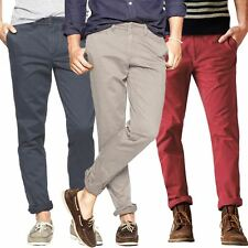 "MENS SKINNY CHINOS WASHED COTTON TWILL TROUSERS CASUAL PANTS W 28-40"" L 31""-33"""