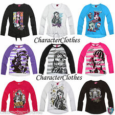 New Girls Official Character MONSTER HIGH Long Sleeve T-shirt Top Age 8 10 12 14