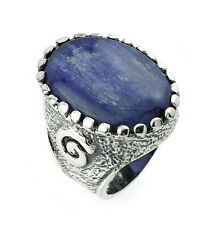 925 Sterling Silver Women's Ring with Oval Kyanite Gemstone 7.7MM Band
