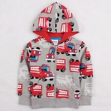 Boys Kids Red Fire Engines Zip Up Hoodie Jumper Age Mths Yrs - Next Day Option