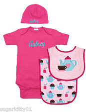 Personalized Baby Girl Hot Pink Tea Time Onezee, Bib, Burp Cloth & Hat Free Ship