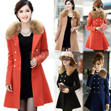 Womens Faux Fur Pea Coat Double Breasted Trench Over Coat Long Jacket Ladies NEW