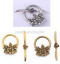 New Arrival 15 sets Antique Silver Flower Circle Toggle Clasp