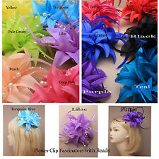 Flower Hair Clip Slide Beads Feathers Wedding Festival Fascinator Lily FLOWERS