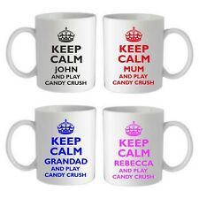 PERSONALISED KEEP CALM AND & PLAY CANDY CRUSH MUG/COASTER, CHOICE OF COLOURS