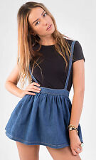Hidden Fashion Womens Ladies Crosshatch denim Short Skater Skirts with Braces