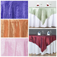 """60x60"""" Taffeta CRINKLED TABLE OVERLAY Wedding Party Banquet Catering Linens SALE"""