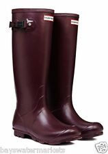 HUNTER TALL NORRIS FIELD BURGUNDY WELLINGTON BOOTS RED Welly BN