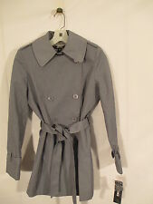 DKNY Double Breasted Belted Trench Raincoat Coat S Slate NWT