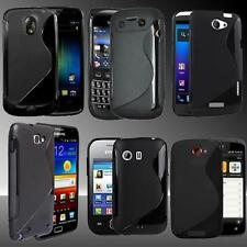 BLACK S Line Silicone Case Cover For Various Mobile Phones + SCREEN PROTECTOR
