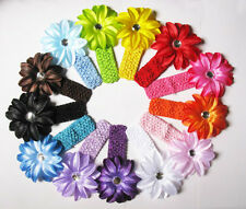 Girls Baby Lily diamond FlowerS Hair Bow clip Crochet Headbands girls headwear