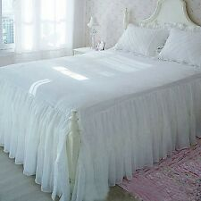 Victorian Romantic Two Layers Exquisite Chiffon/Cotton White Bed Skirt 1409