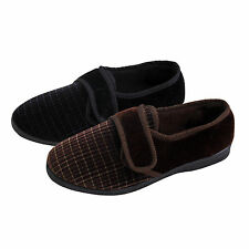 Mens Velcro Fastened Velvet Slippers Super Soft Comfy, Perfect Gift for him